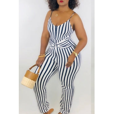 New New Plus Size Spaghetti Strap Faux Wrap Jumpsuit in Navy Blue and White
