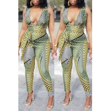 New Plus Size Deep V Jumpsuit with Attached Tie in Green and Yellow