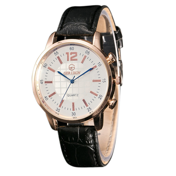 Men's Leather Band Quartz Wrist Watch