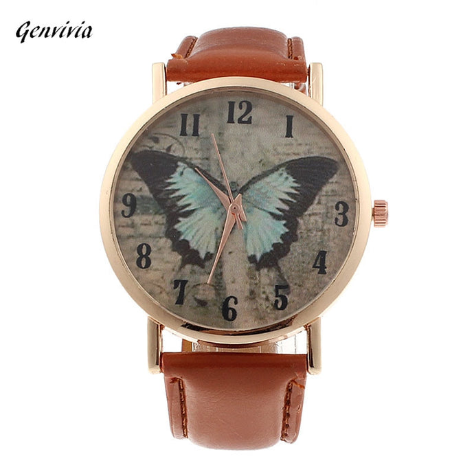 Women's Butterfly Leather Quartz Watch