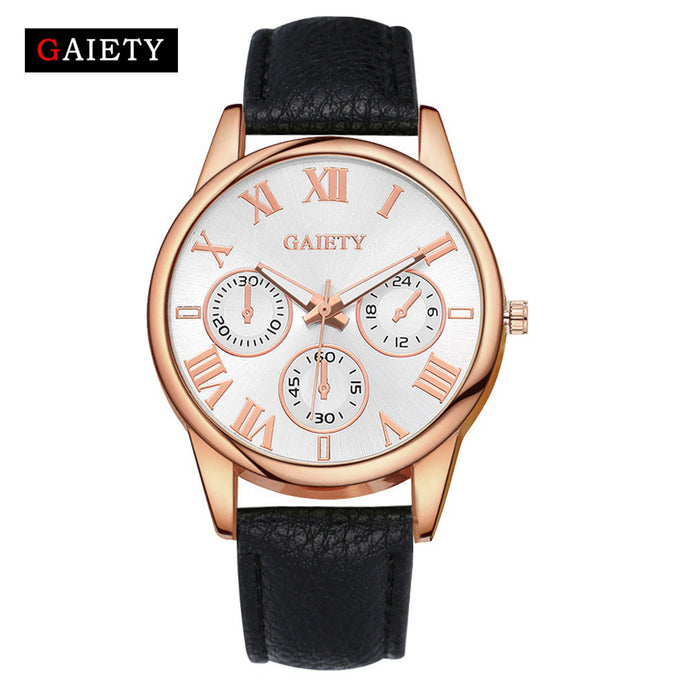 Women's Unique Leather Band Analog Quartz Round Wrist Watch