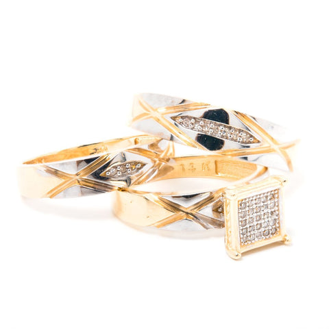 14k Gold and Diamonds 3 Rings Set