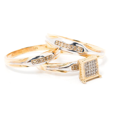 10k Gold and Diamonds 3 Rings Set