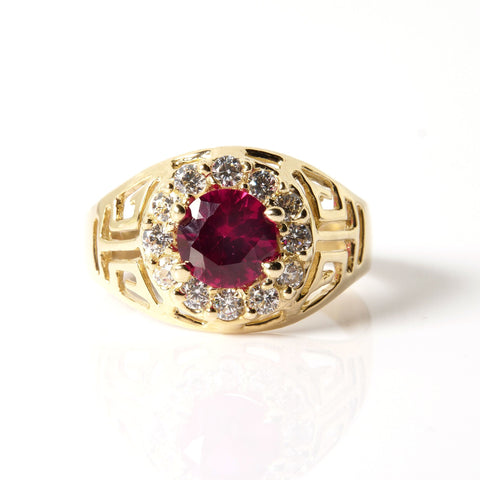 14K Gold and Gems Men's Ring
