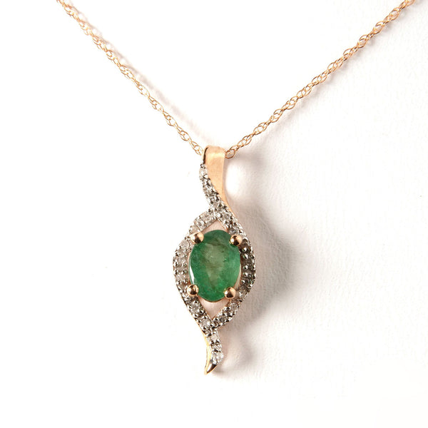 "18"" Diamond and Emerald Necklace 0.12ctw 10K Gold"