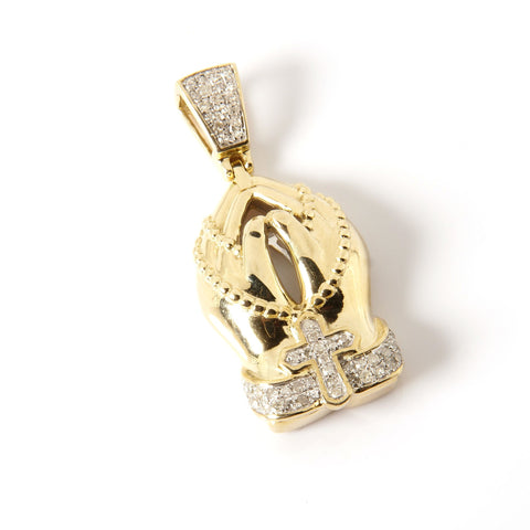 10K Gold and Diamonds Religious Pendant