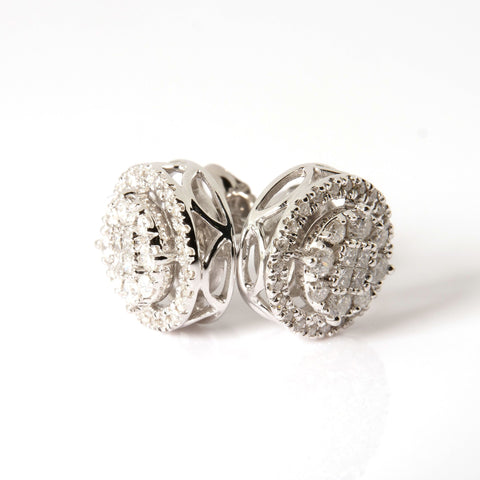 10K White Gold Diamond 0.75ctw Stud Earrings