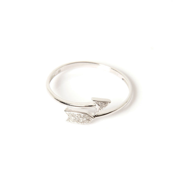 14K White Gold and Diamonds Twisted Arrow Women's Ring