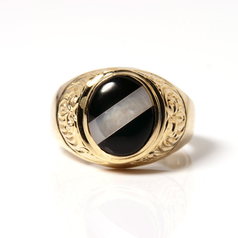14K Gold and Onix Stone Men's Ring