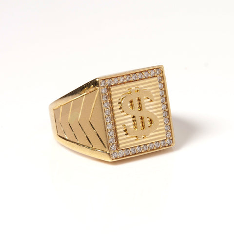 14K Gold and Zirconia Stones Men's Ring