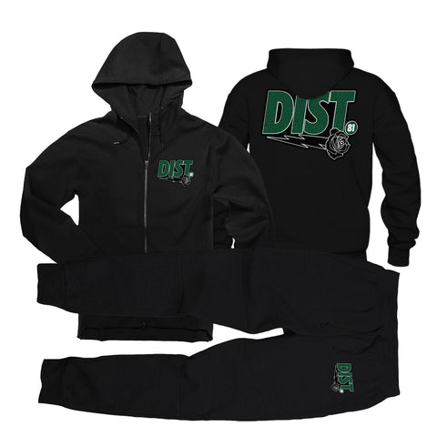 D81 Pine Green Tech Fleece Zip Jogging Suit - District81 Clothing