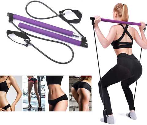 Exercise Resistance Band Yoga Stick Pilates Stick Portable Fitness