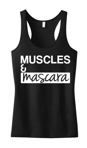 MUSCLES & MASCARA Workout Tank Black with White