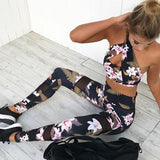 Floral Print Women's Leggings w/ Moisture Wicking