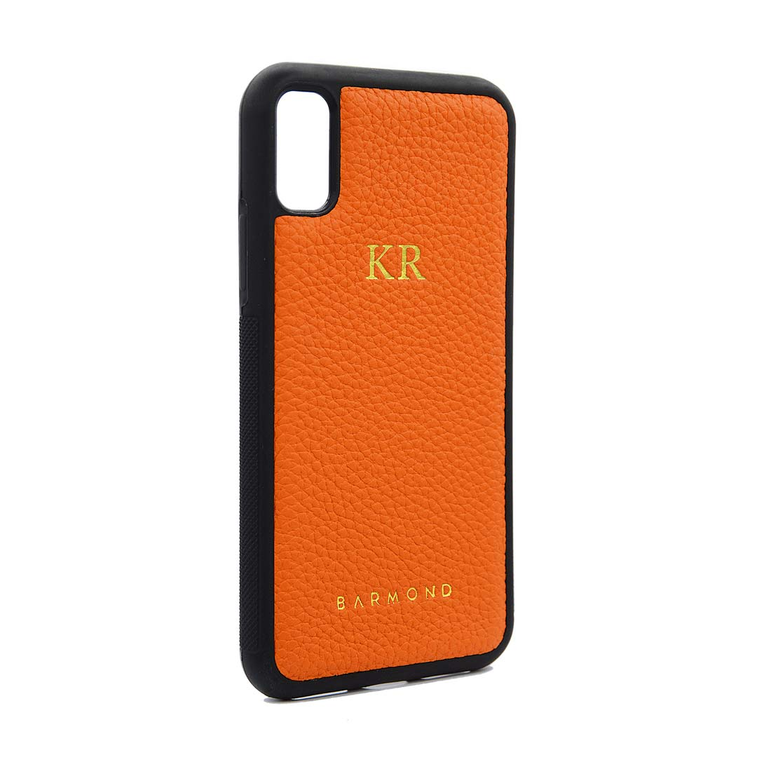 Coque iPhone Cuir Veau Orange Aurore