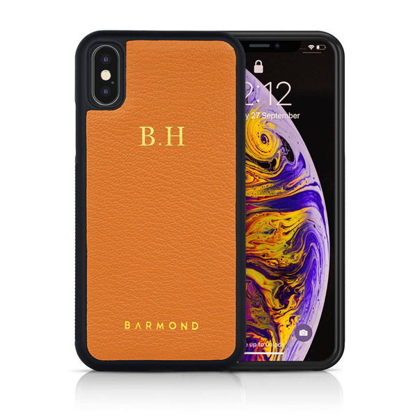 Coque iPhone Cuir Chèvre Orange Tangerine