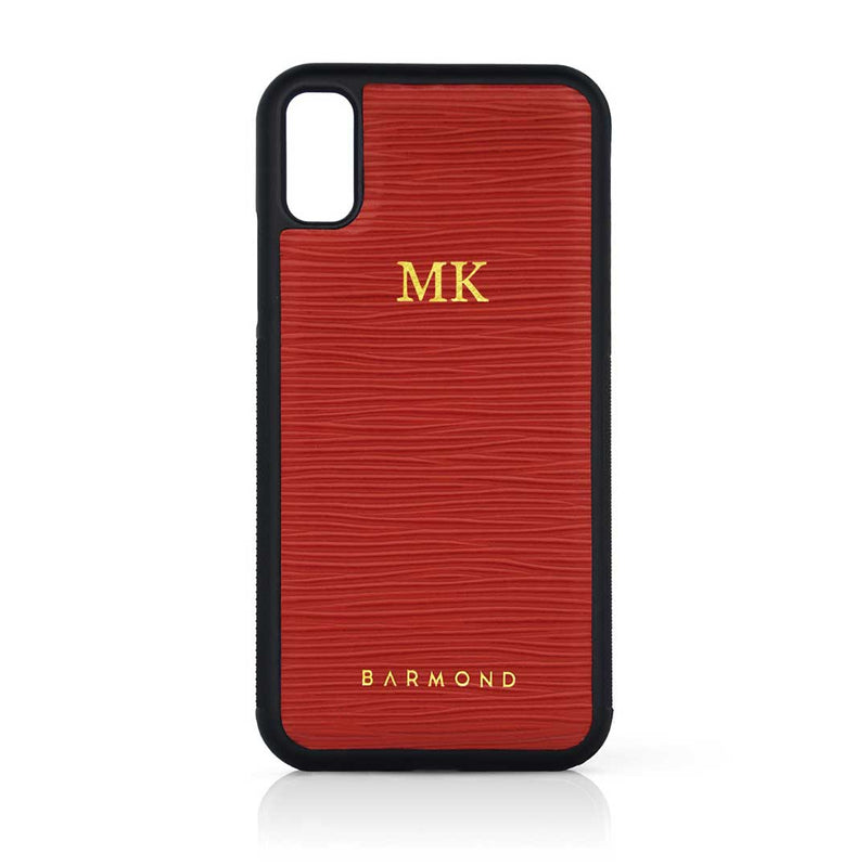 Coque iPhone Cuir Vachette Rouge Horizon