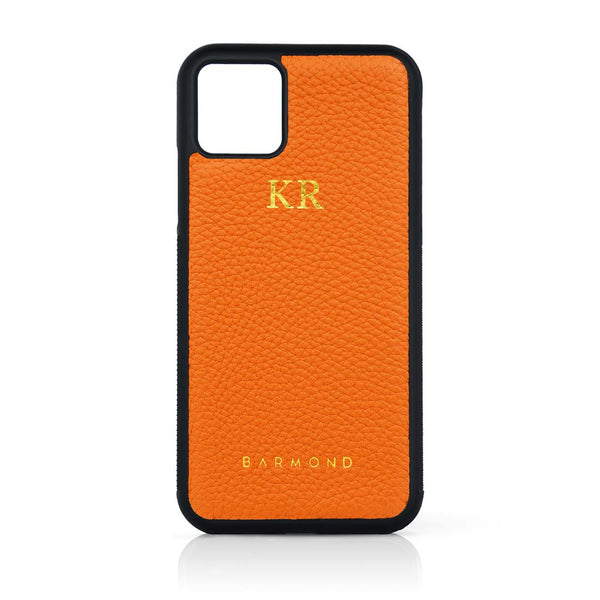 Coque iPhone 11 Cuir Veau Orange Aurore