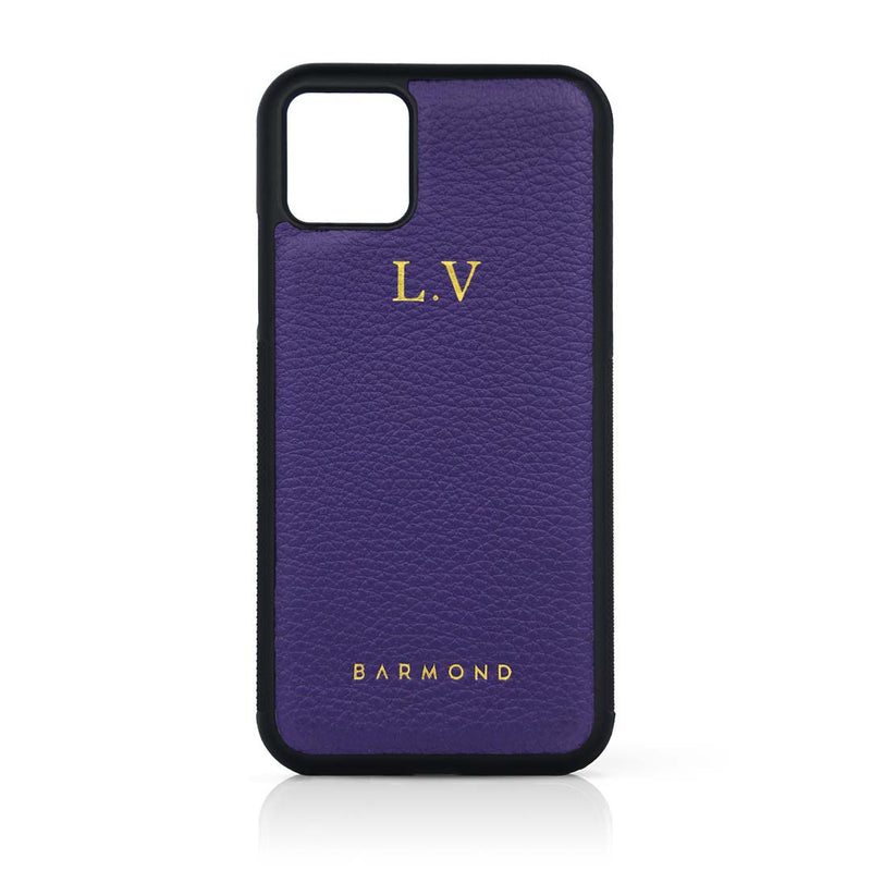 Coque iPhone 11 Cuir Veau Violet Zinzolin