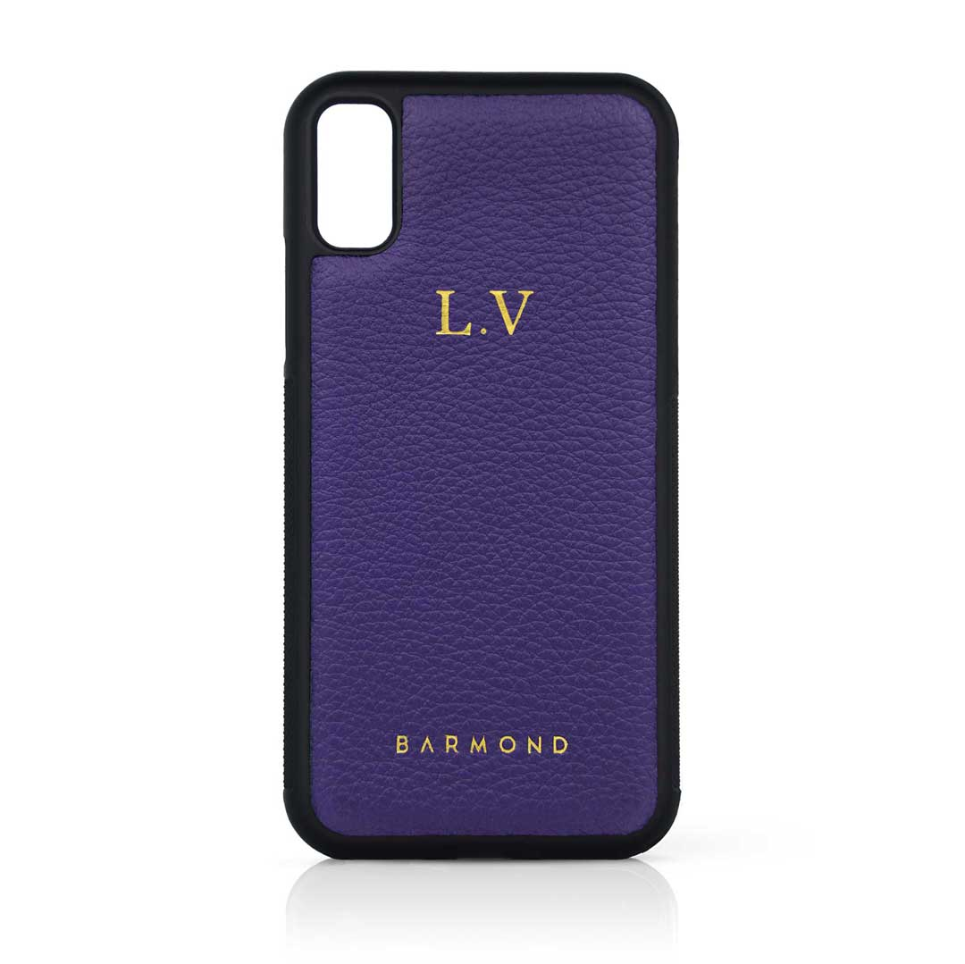 Coque iPhone Cuir Veau Violet Zinzolin