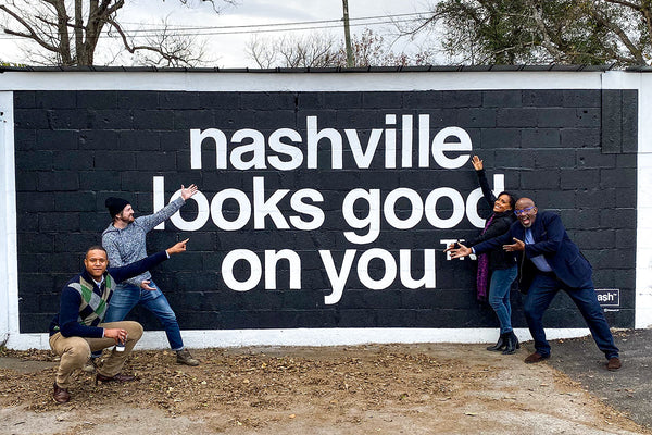 The TODAY Show posing in front of the Nashville Looks Good On You mural in 12 South nashville.