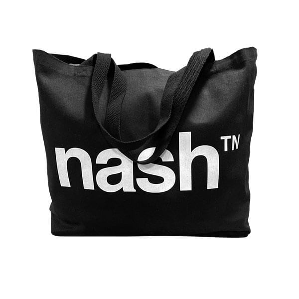 nashville TN tote bag, with nash TN print on one site & nashville looks good on you on the other