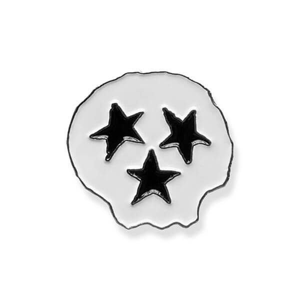 nashville lapel tri-star skull enamel pin tennessee flag skeleton