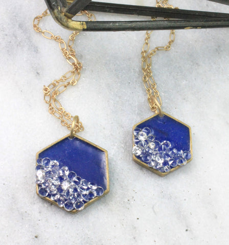 blue hexagon pendants
