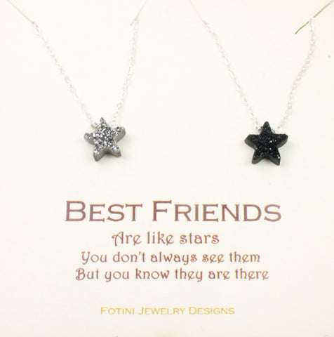 Best friends are like stars, druzy necklace set of 2 stars, set of 2 necklaces