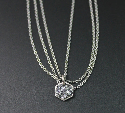 triple chain silver tone chain and stardust mini hexagon