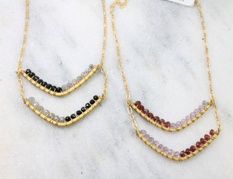 Chevron color blocked necklace