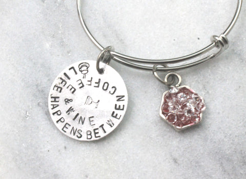 life happens between coffee and wine, silver tone adjustable bangle