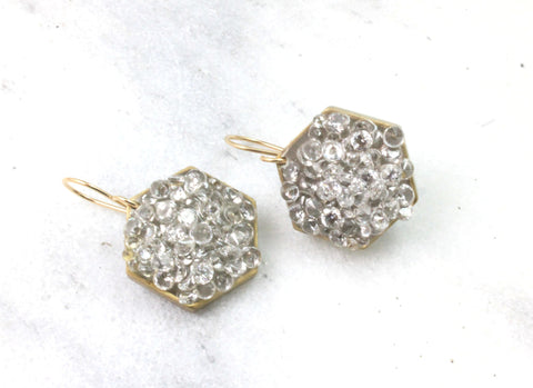 gray hexagon earrings