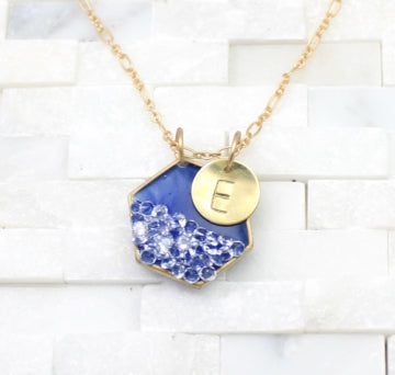 hexagon pendant and monogram necklace