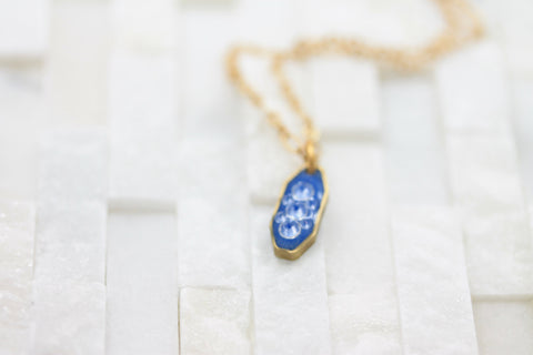 Stocking stuffer gift for girls- tiny blue and gold- layered- dainty