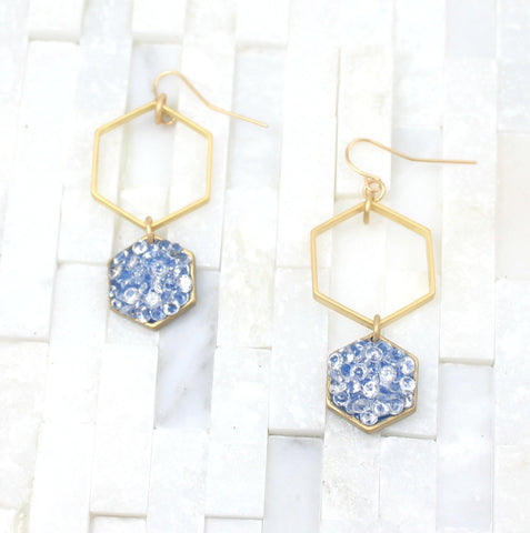 Gold blue Drop earrings, enamel-hexagon- geometric-minimalist black crystal
