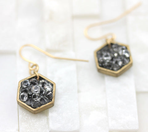 Hexagon- small dangle earrings- crystal- gold- geometric- gold earrings-