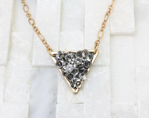 triangle Pendant necklace-trendy-darling layering- gold- charm