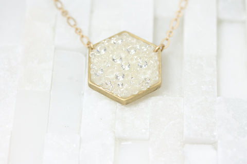Geometric necklace-Hexagon necklace- white- bride- bridal-