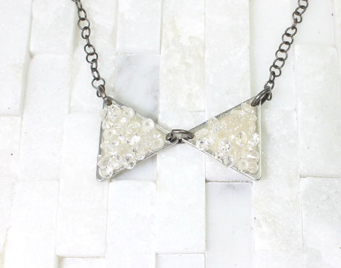 Large bowtie-minimalist-crystal necklace- silver & matte gunmetal-