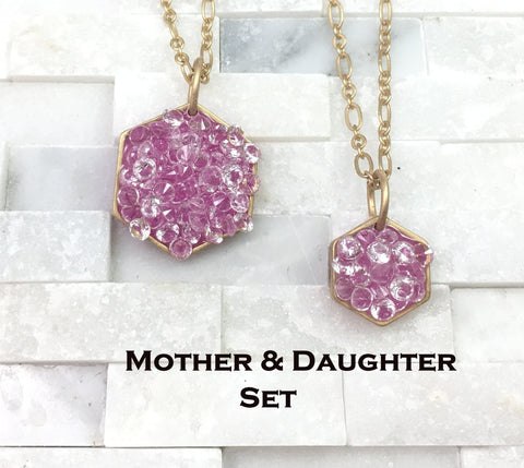 mother daughter, necklace set,jewelry, gift set, goddaughter, sister, grandmother