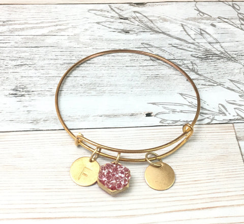 Custom adjustable bangle bracelet, enamel and crystal accent- gold tone