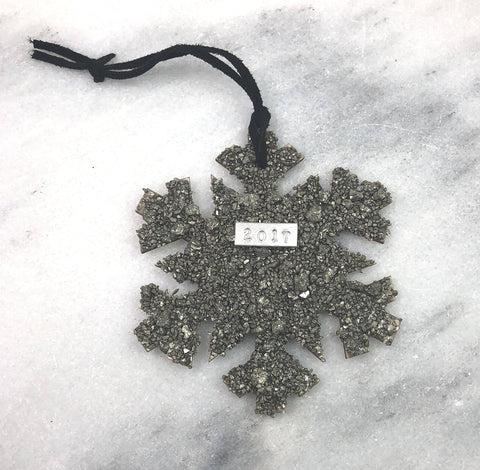 Unique Christmas ornament crushed gemstone- snowflake- pyrite