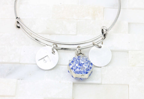 Custom adjustable bangle bracelet, enamel and crystal accent- silver tone