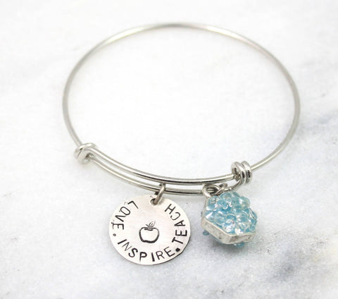 hope love life- stamped in Greek- adjustable bangle bracelet, enamel and crystal accent- silver tone