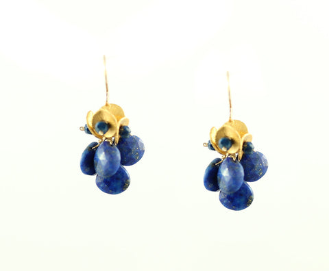 Lapis Cluster earrings, dangly gold