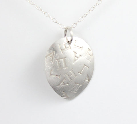 Love Word jumble necklace. Greek, silver