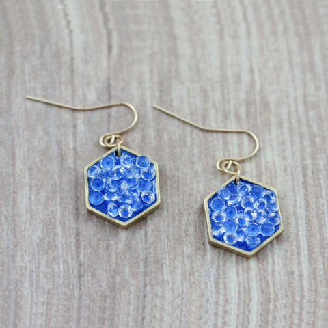 gold and blue hexagon geometric earrings