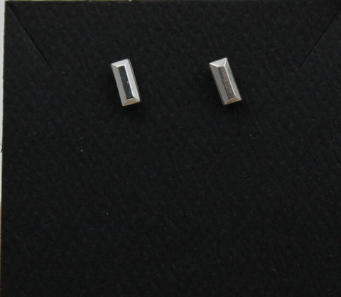Silver studs Baguette - tiny studs- stud earrings