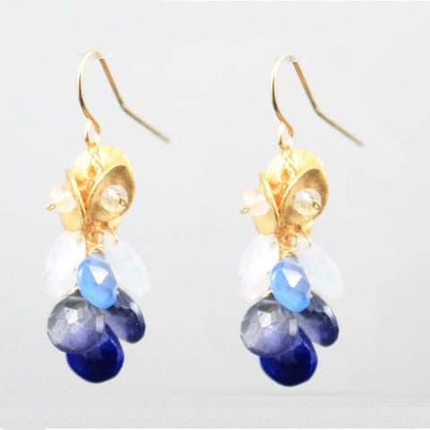 Ombre Blue dangly earrings- gold vermeil
